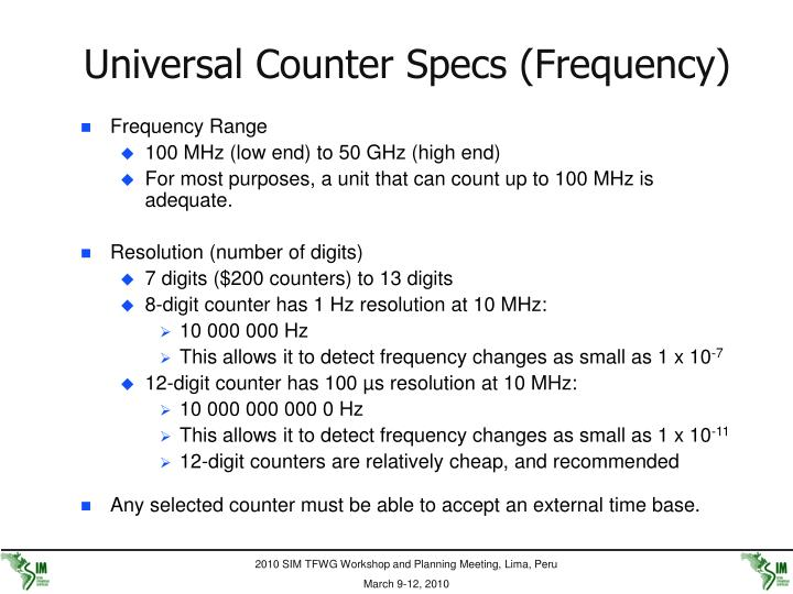 Universal Counter Specs (Frequency)