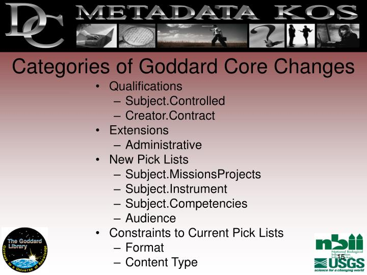 Categories of Goddard Core Changes