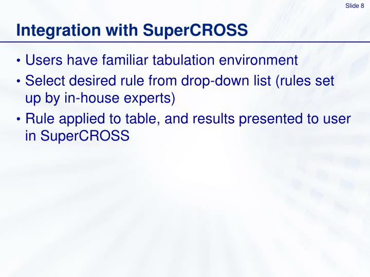 Integration with SuperCROSS