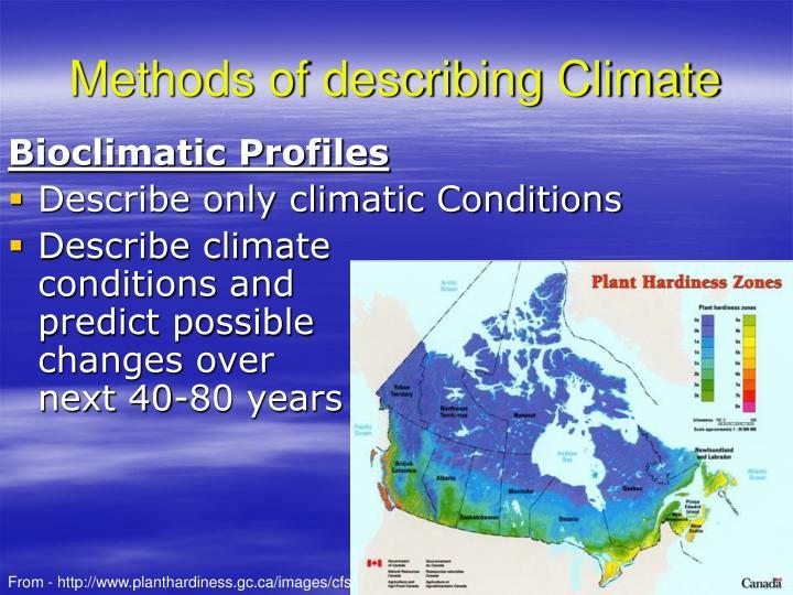Methods of describing Climate