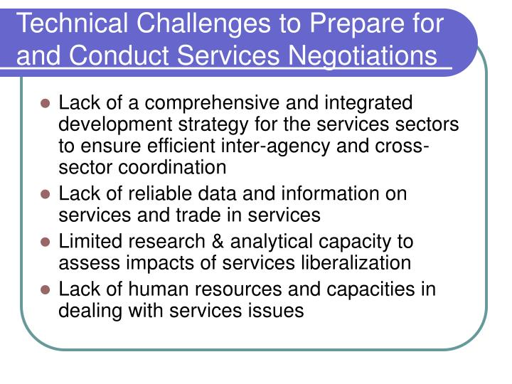 Technical challenges to prepare for and conduct services negotiations