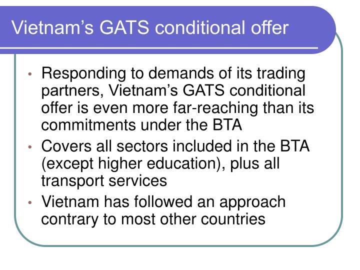 Vietnam's GATS conditional offer
