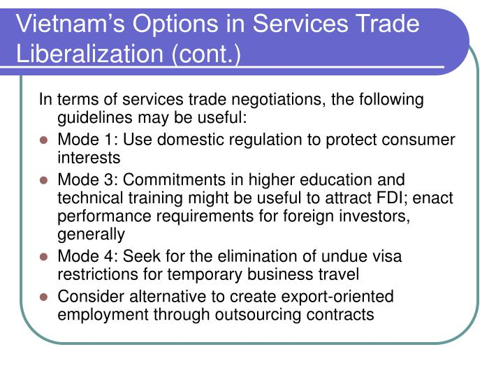 Vietnam's Options in Services Trade Liberalization (cont.)