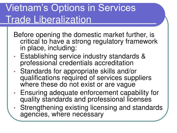 Vietnam's Options in Services Trade Liberalization