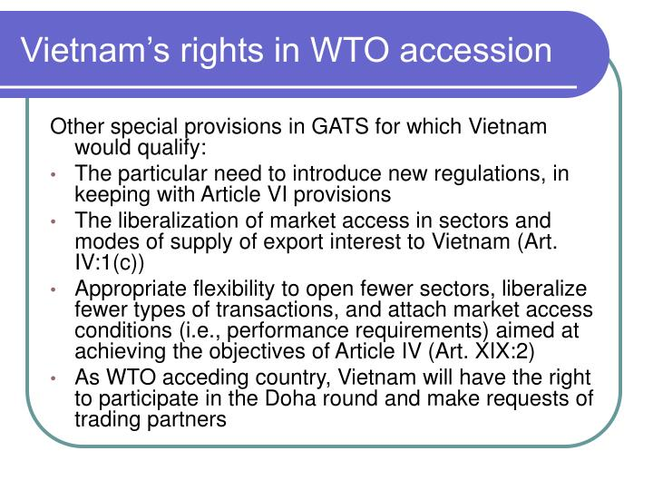 Vietnam's rights in WTO accession