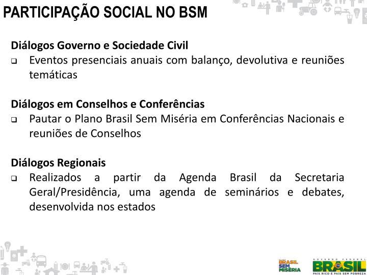 PARTICIPAÇÃO SOCIAL NO BSM