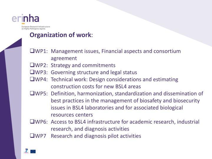 Organization of work
