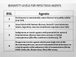 biosafety levels for infectious agents