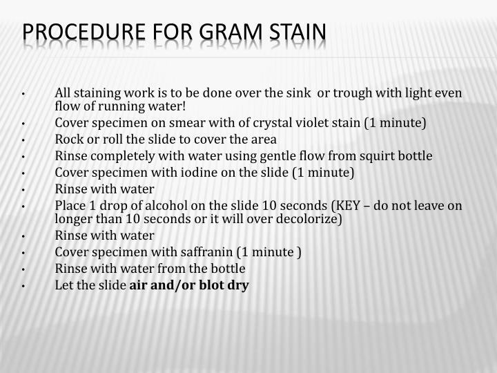 Procedure for Gram Stain