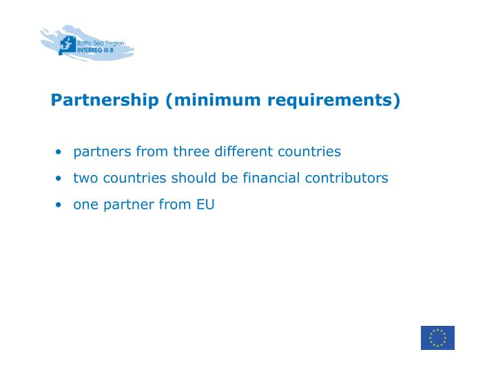 Partnership (minimum requirements)