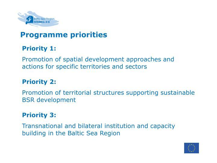 Programme priorities