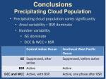 conclusions precipitating cloud population