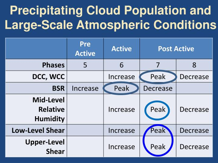 Precipitating Cloud Population and Large-Scale Atmospheric Conditions