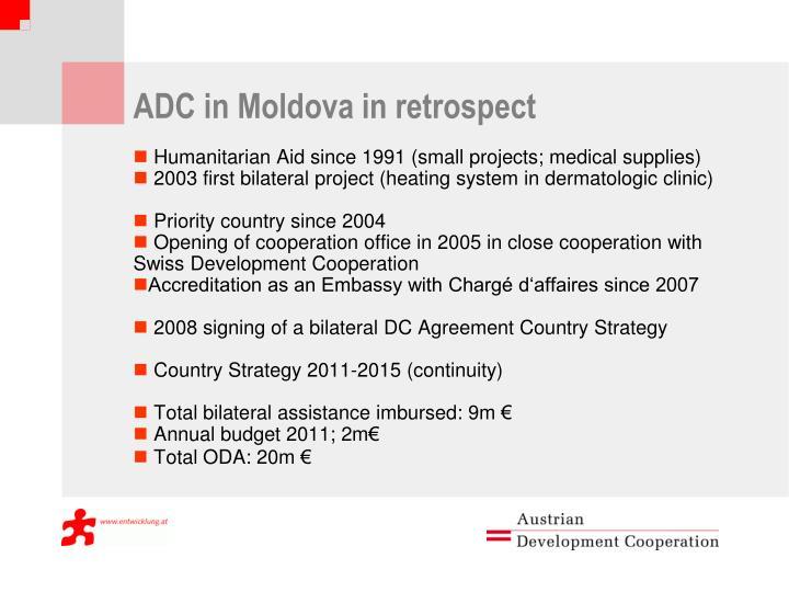 ADC in Moldova in retrospect