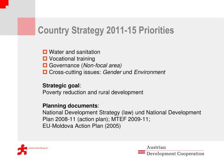 Country Strategy 2011-15 Priorities