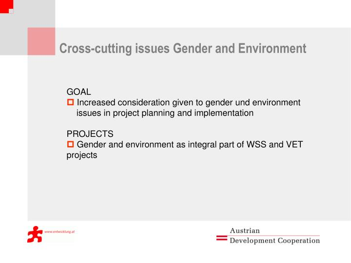 Cross-cutting issues Gender and Environment