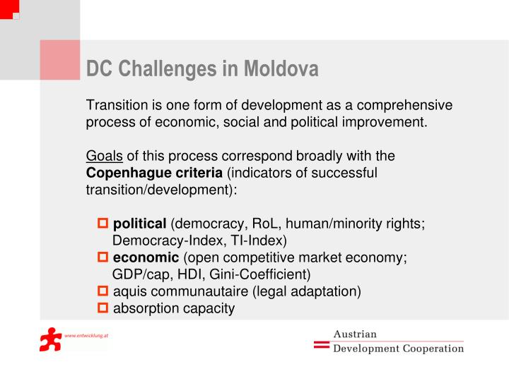 DC Challenges in Moldova