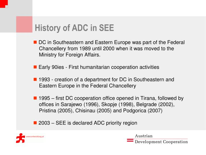 History of ADC in SEE