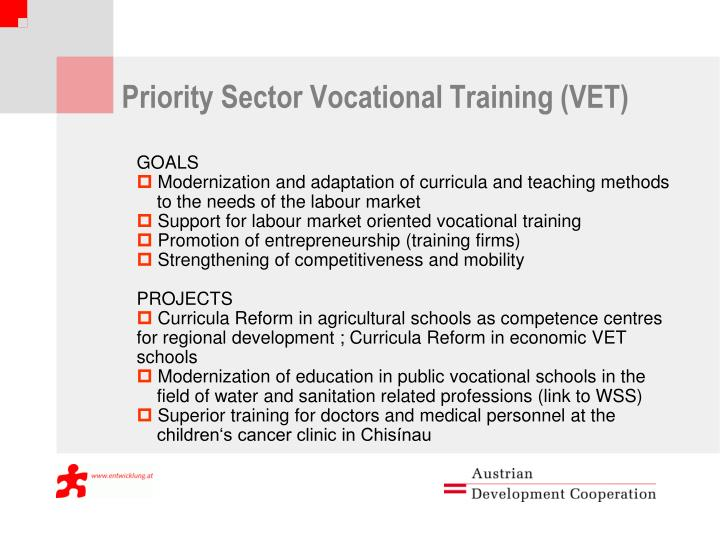 Priority Sector Vocational Training (VET)