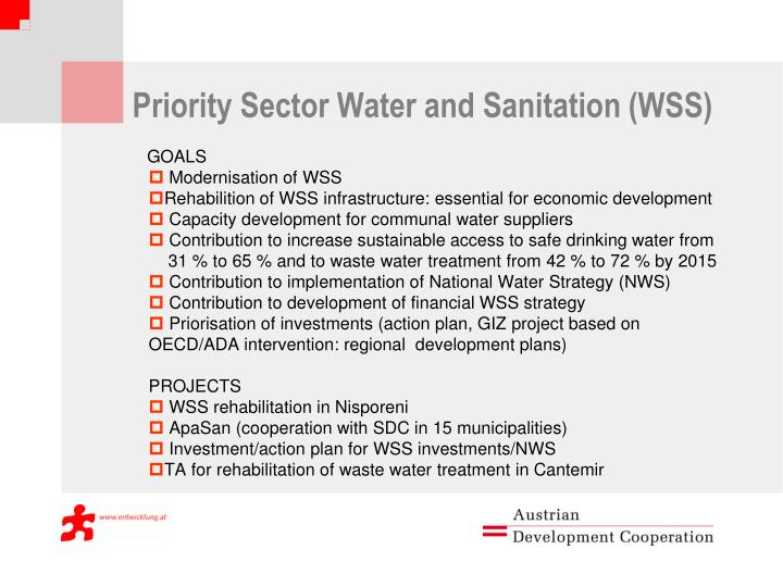 Priority Sector Water and Sanitation (WSS)