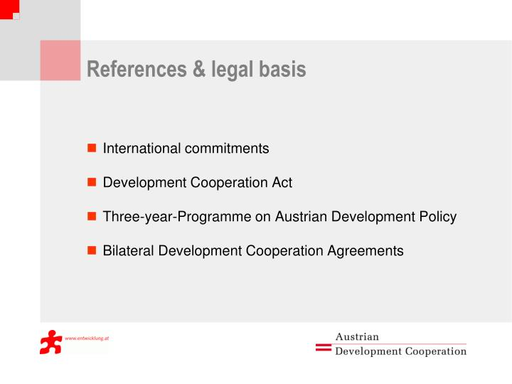 References & legal basis