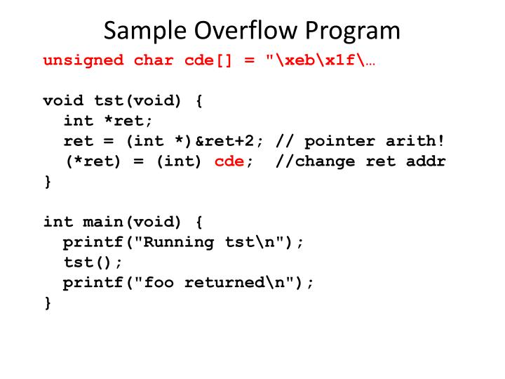 Sample Overflow Program