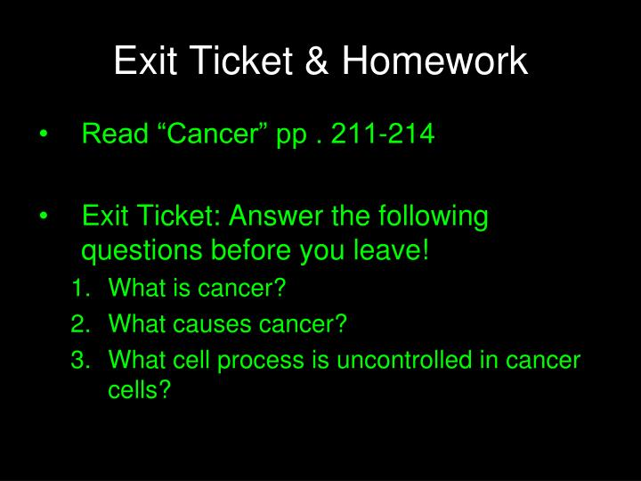 Exit Ticket & Homework