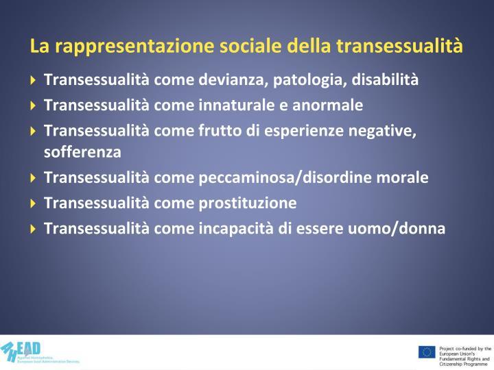 La rappresentazione sociale della transessualità