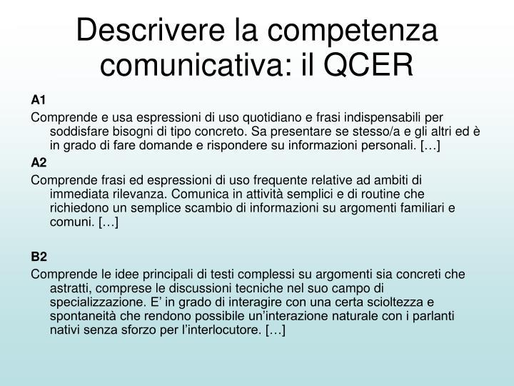Descrivere la competenza comunicativa: il QCER