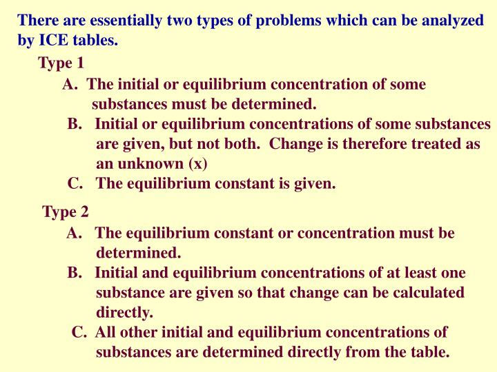 There are essentially two types of problems which can be analyzed by ice tables