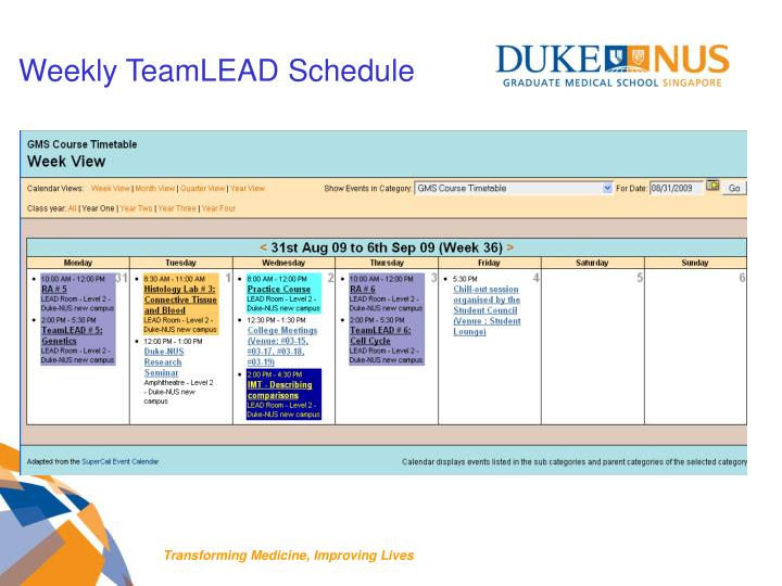 Weekly TeamLEAD Schedule