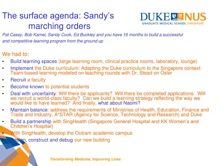 The surface agenda: Sandy's
