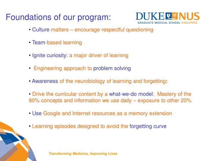 Foundations of our program: