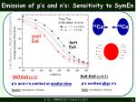 emission of p s and n s sensitivity to symen