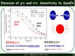 emission of p s and n s sensitivity to symen1