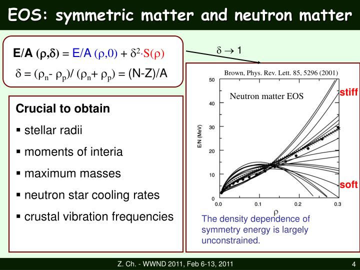 EOS: symmetric matter and neutron matter