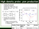 high density probe pion production