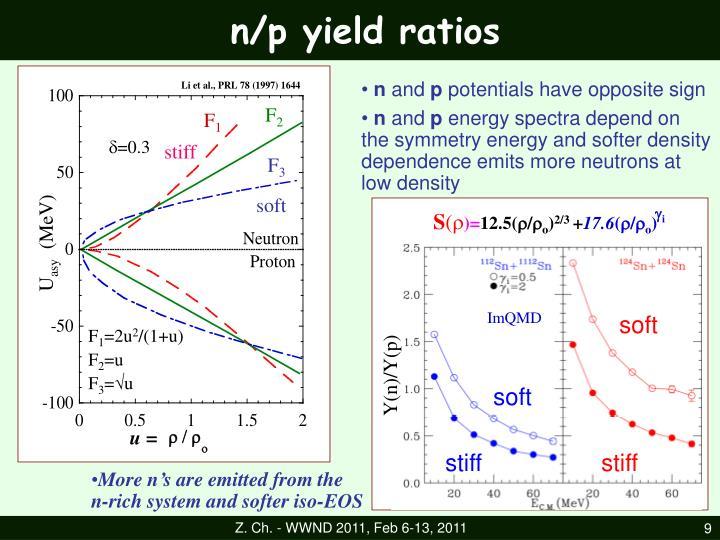 n/p yield ratios