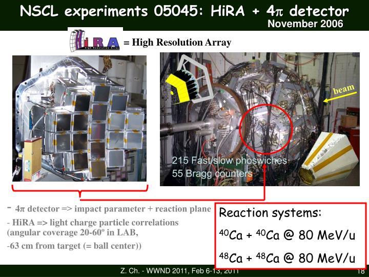 NSCL experiments 05045: HiRA + 4