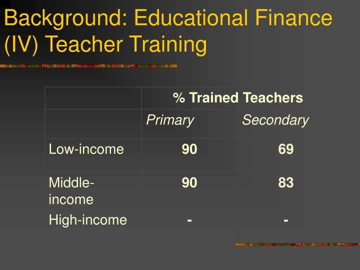 Background: Educational Finance (IV) Teacher Training