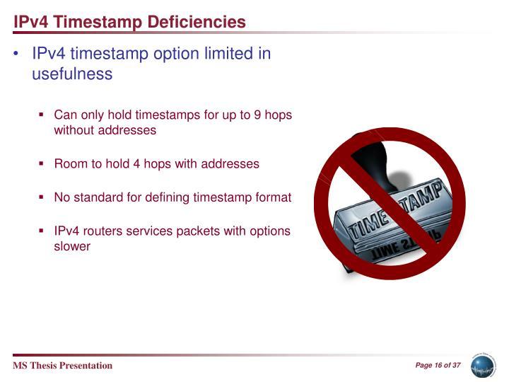 IPv4 Timestamp Deficiencies