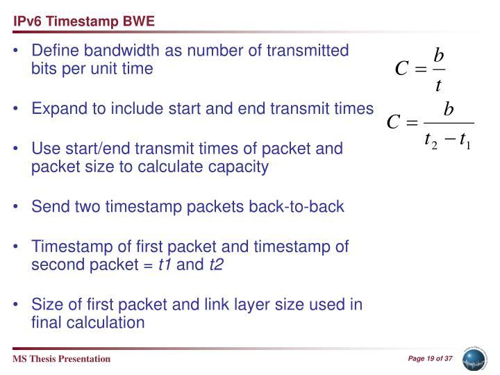 IPv6 Timestamp BWE