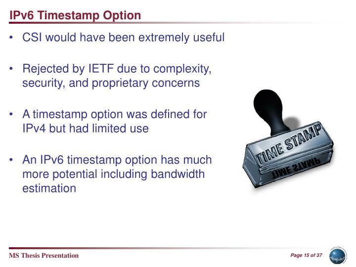 IPv6 Timestamp Option