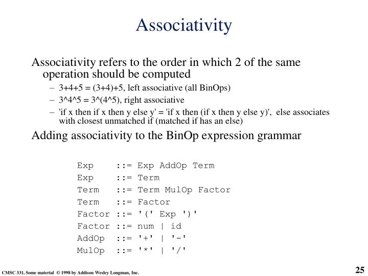 Associativity refers to the order in which 2 of the same operation should be computed