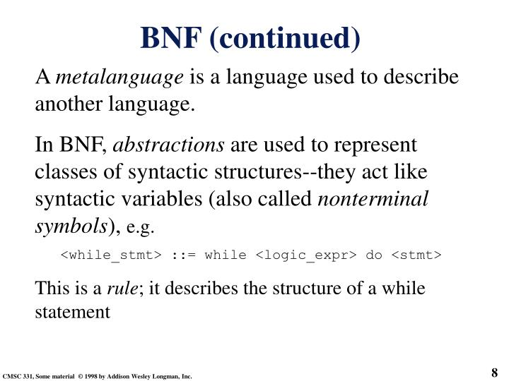 BNF (continued)