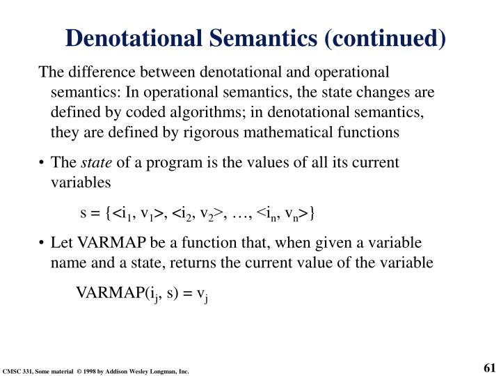 Denotational Semantics (continued)