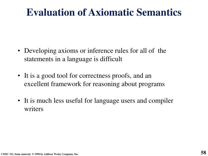 Developing axioms or inference rules for all of  the statements in a language is difficult