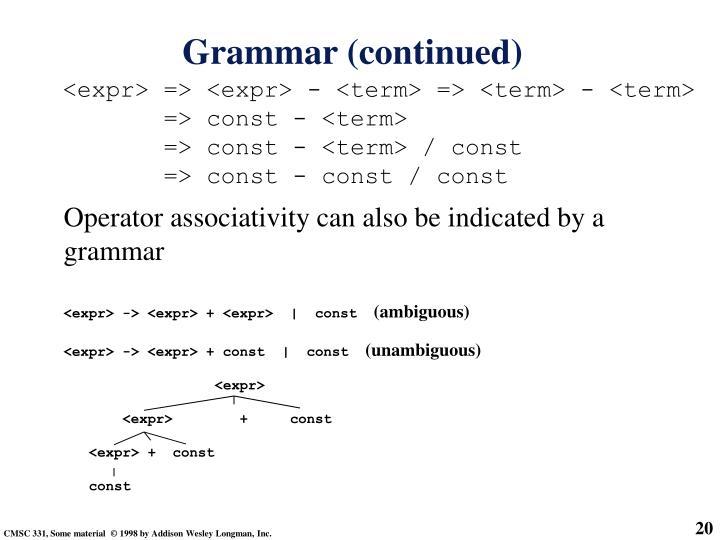 <expr> => <expr> - <term> => <term> - <term>