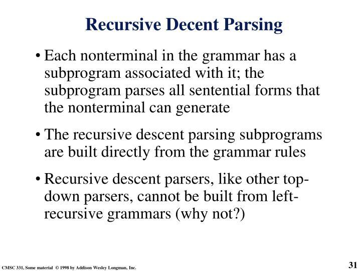 Recursive Decent Parsing