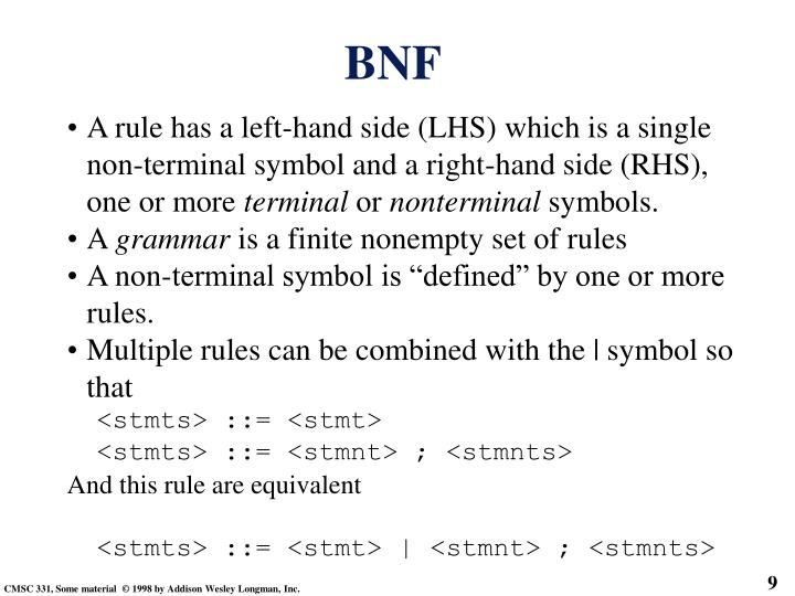 A rule has a left-hand side (LHS) which is a single non-terminal symbol and a right-hand side (RHS), one or more